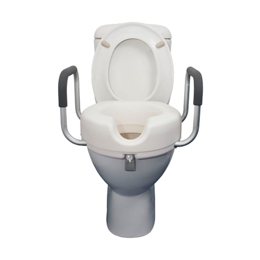 Raised toilet seat without armrest