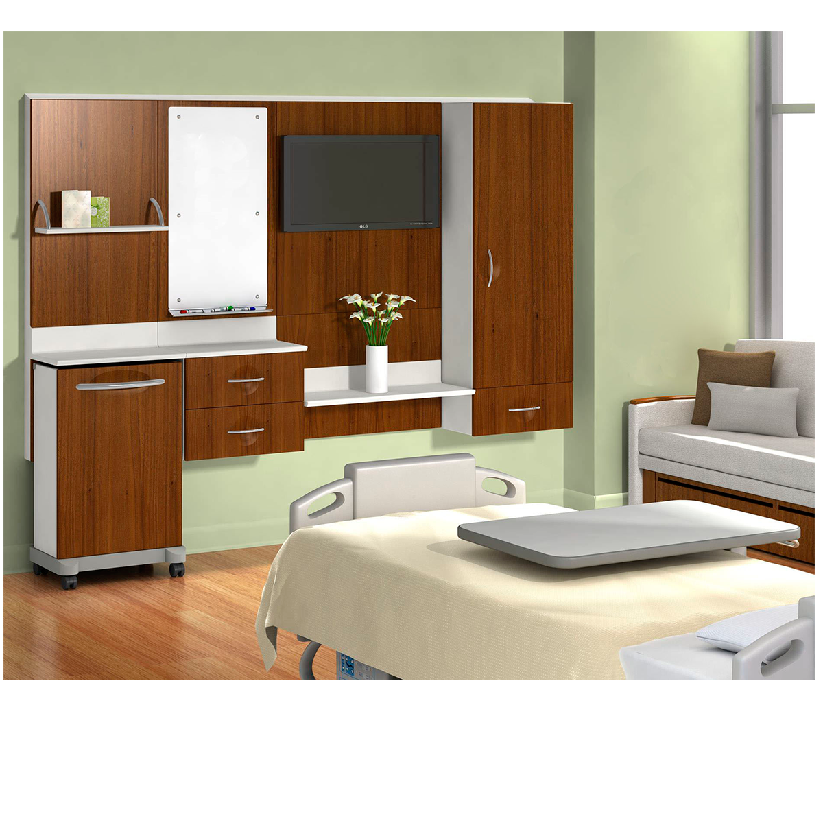 Patient room cabinets
